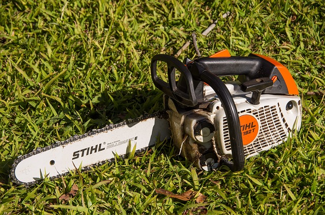 Photo of a chainsaw on top of a grass